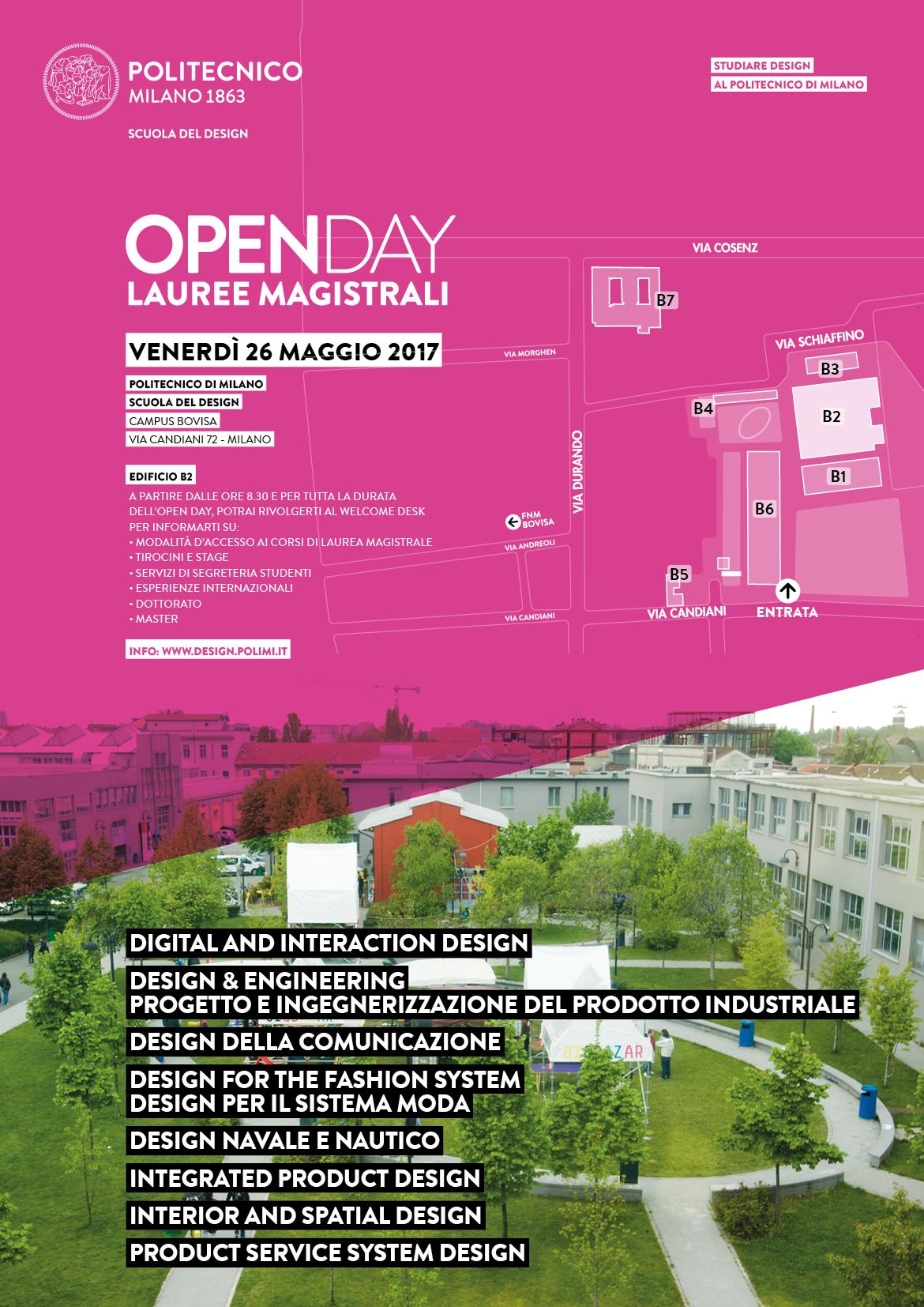 Scopri i corsi di laurea magistrale del politecnico open day for Laurea design milano